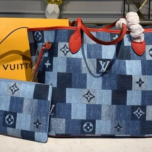 Replica Louis Vuitton M44981 LV Neverfull mm tote bags in Blue/Red Monogram Denim canvas