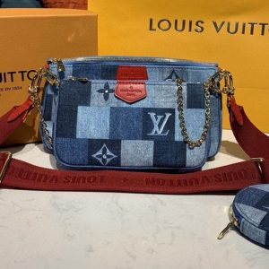Replica Louis Vuitton M44990 LV Multi Pochette Accessoires bags in Blue/Red Monogram Denim canvas