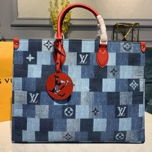 Replica Louis Vuitton M44992 LV Onthego GM tote bag in Blue/Red Monogram Denim canvas
