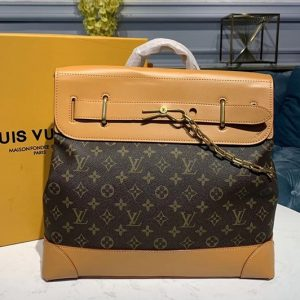 Replica Louis Vuitton M44997 Steamer PM Bags in Monogram canvas and Natural leather