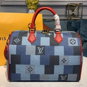 Replica Louis Vuitton M45041 LV Speedy Bandoulière 30 bag in Blue/Red Monogram Denim canvas