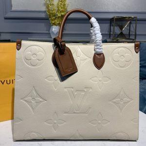 Replica Louis Vuitton M45081 LV Onthego GM tote Bags in Beige Monogram Empreinte Leather