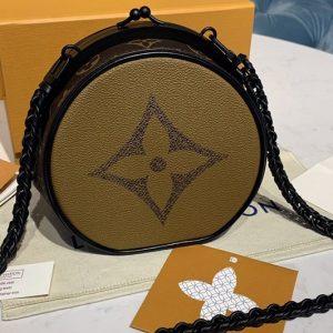 Replica Louis Vuitton M45280 LV Boursicot Boite Chapeau Bags in Monogram Reverse coated canvas
