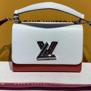 Replica Louis Vuitton M50282 LV Twist MM handbags White and Red Epi Leather