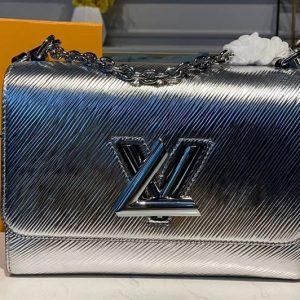 Replica Louis Vuitton M53597 LV Twist MM handbags Silver Epi Leather