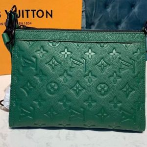 Replica Louis Vuitton M54330 Triangle Shaped Shoulder Bags Green Monogram Empreinte Leather