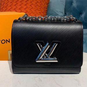 Replica Louis Vuitton M50332 LV Twist PM chain bags Black Epi leather