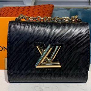 Replica Louis Vuitton M55224 LV Twist PM chain bags Black Epi leather