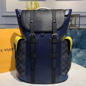 Replica Louis Vuitton M55111 LV Christopher Backpack PM Bags Damier Graphite Canvas and Epi Leather