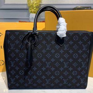 Replica Louis Vuitton M55203 LV Grand Sac tote bags in Blue Monogram jacquard