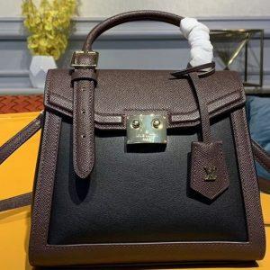 Replica Louis Vuitton M55488 The LV Arch handbags Black/Dark Brown Calf Leather