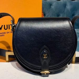 Replica Louis Vuitton M55505 LV Tambourin handbags Black Calf leather