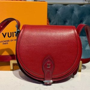 Replica Louis Vuitton M55506 LV Tambourin handbags Cherry Red Calf leather