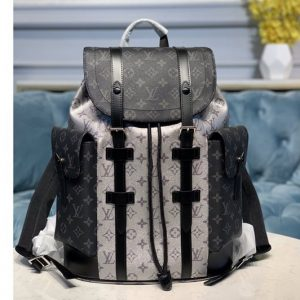 Replica Louis Vuitton M55699 LV Christopher PM backpack in Black/Silver Monogram Eclipse Canvas