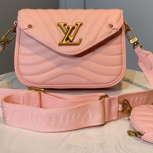 Replica Louis Vuitton M56466 LV Multi Pochette New Wave Bag in Pink Calf leather