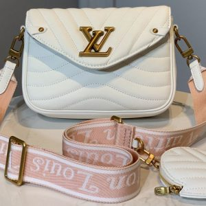 Replica Louis Vuitton M56466 LV Multi Pochette New Wave Bag in White Calf leather