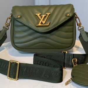 Replica Louis Vuitton M56466 LV Multi Pochette New Wave Bag in Green Calf leather