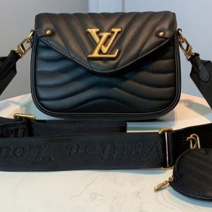 Replica Louis Vuitton M56466 LV Multi Pochette New Wave Bag in Black Calf leather