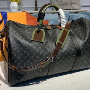Replica Louis Vuitton M58669 LV Keepall Bandouliere 50 Bags in Monogram Eclipse Canvas