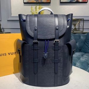 Replica Louis Vuitton M58868 LV Christopher PM backpack Navy Blue Epi Leather