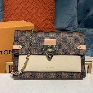 Replica Louis Vuitton N60237 LV Vavin chain wallet Damier Ebene Canvas And Beige Leather