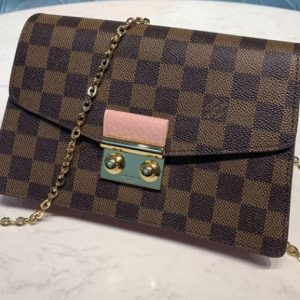 Replica Louis Vuitton N60287 LV Croisette chain wallet in Damier Ebene canvas With Pink Leather