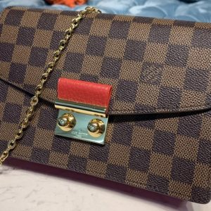 Replica Louis Vuitton N60288 LV Croisette chain wallet in Damier Ebene canvas With Red Leather