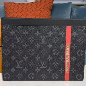 Replica Louis Vuitton M61692 LV Pochette Voyage MM Bags Monogram Eclipse Canvas With Red Leather