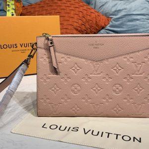 Replica Louis Vuitton M68707 LV Pochette Melanie MM Bag in Pink Monogram Empreinte leather