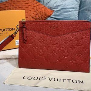 Replica Louis Vuitton M68707 LV Pochette Melanie MM Bag in Red Monogram Empreinte leather