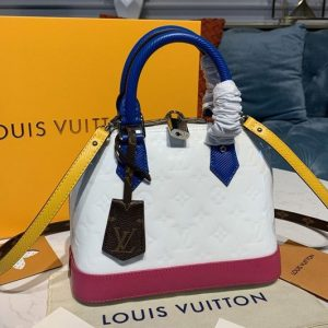 Replica Louis Vuitton M91606 LV Alma BB handbag in White/Rose Monogram Vernis Leather