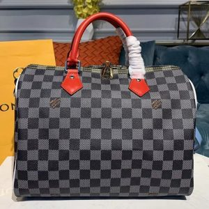 Replica Louis Vuitton N40236 LV Speedy Bandouliere 30 bags Black-and-white Damier coated canvas