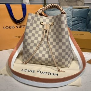 Replica Louis Vuitton N40344 LV NeoNoe bucket bag in Damier Azur canvas