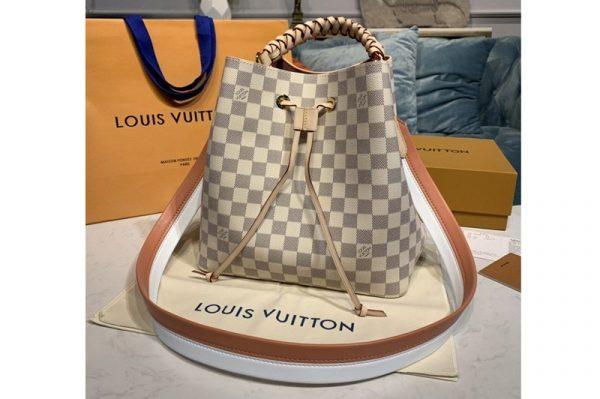 Replica Louis Vuitton N40344 LV NeoNoe bucket bag in Damier Azur canvas