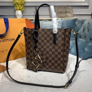 Replica Louis Vuitton N60348 LV Belmont PM Bag in Damier Ebene canvas With Black Leather