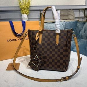 Replica Louis Vuitton N60296 LV Belmont PM Bag in Damier Ebene canvas With Saffron Leather