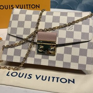 Replica Louis Vuitton N60357 LV Croisette chain wallet in Damier Azur canvas With Pink Leather