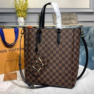 Replica Louis Vuitton N60294 LV Belmont MM Bag in Damier Ebene canvas With Black Leather
