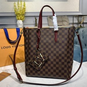 Replica Louis Vuitton N60293 LV Belmont MM Bag in Damier Ebene canvas With Cherry Berry Leather