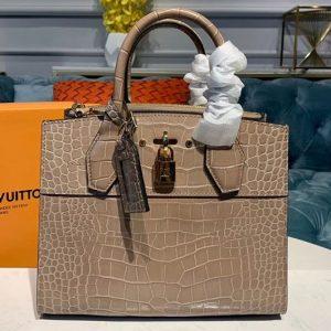 Replica Louis Vuitton N94475 LV City Steamer PM Bags Brown Crocodilien Brillant Leather