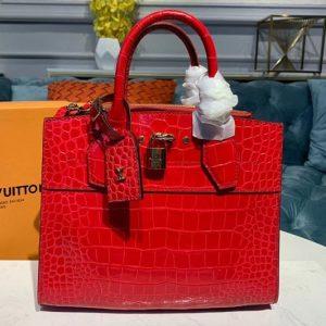 Replica Louis Vuitton N94479 LV City Steamer PM Bags Red Crocodilien Brillant Leather