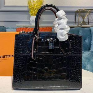 Replica Louis Vuitton N92515 LV City Steamer PM Bags Black Crocodilien Brillant Leather
