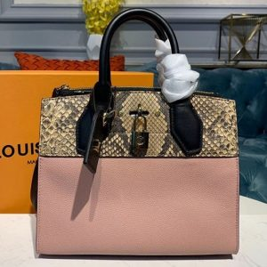 Replica Louis Vuitton N96318 LV City Steamer Mini handbags Pink Grained calfskin and python leather