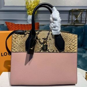 Replica Louis Vuitton N95924 LV City Steamer MM handbags Pink Grained calfskin and python leather