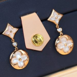 Replica Louis Vuitton Q96668 LV Color Blossom Long Earrings pink gold white mother of pearl and diamonds