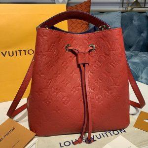 Replica Louis Vuitton M45306 LV Neonoe MM Bags in Navy Red Monogram Empreinte leather