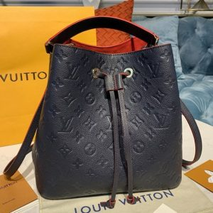 Replica Louis Vuitton M45306 LV Neonoe MM Bags in Navy Blue/Red Monogram Empreinte leather