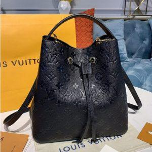 Replica Louis Vuitton M45256 LV Neonoe MM Bags in Black Monogram Empreinte leather