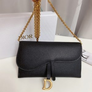 Replica Christian Dior S5614 Dior Saddle wallet in Black Calf Leather