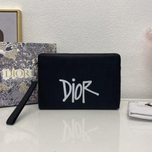 Replica Christian Dior 2OBCA251 Dior pouch in Black Calf Leather